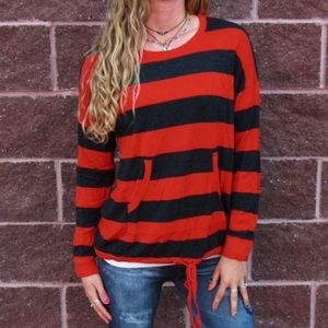 Valentine Red and Charcoal Grey Stripe Pullover